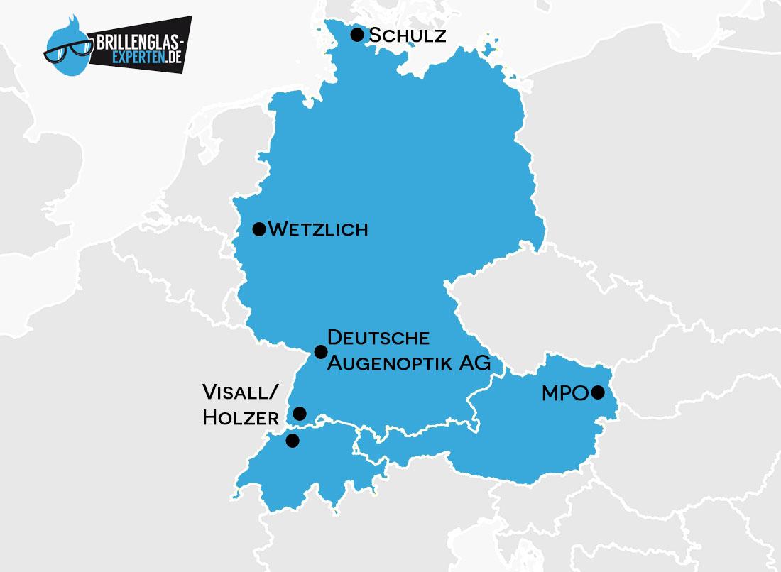 Brillenglashersteller Deutschland, Schweiz, Öterreich
