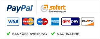 Zahlen per PayPal, Vorkasse, Sofortüberweisung